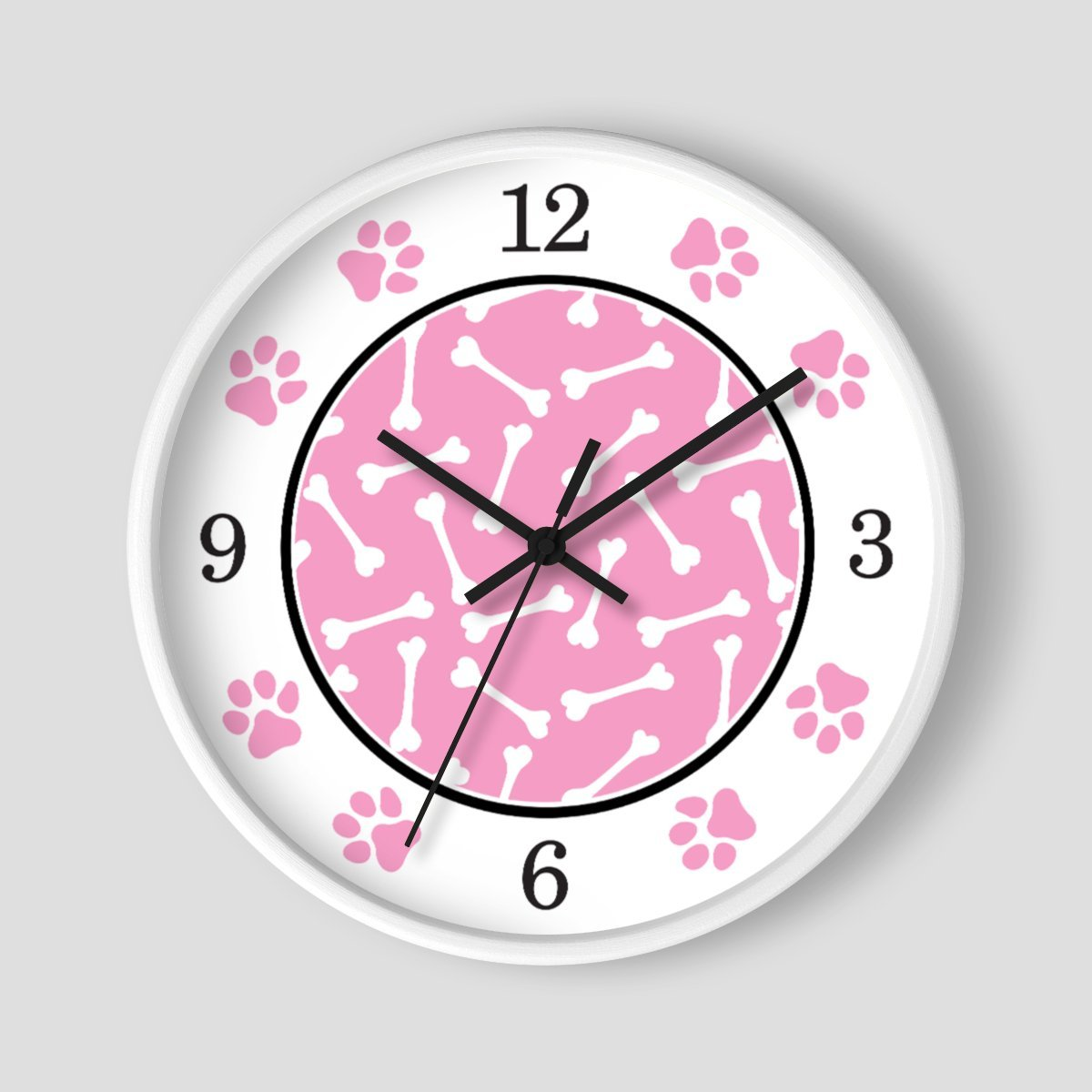 Dog Bone Pink Paw Print Wall Clock at Speckle Rock