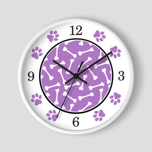 Dog Bone Purple Paw Print Wall Clock at Speckle Rock