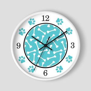 Dog Bone Turquoise Paw Print Wall Clock at Speckle Rock