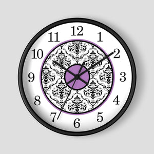 Elegant Purple Black Damask Wall Clock at Speckle Rock