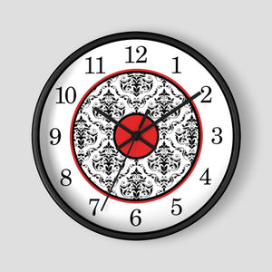 Elegant Red Black Damask Wall Clock at Speckle Rock