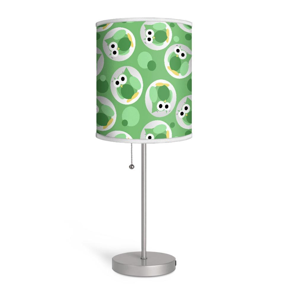 Funny Cute Green Owl Pattern Nursery or Kids Room Lamp at Speckle Rock