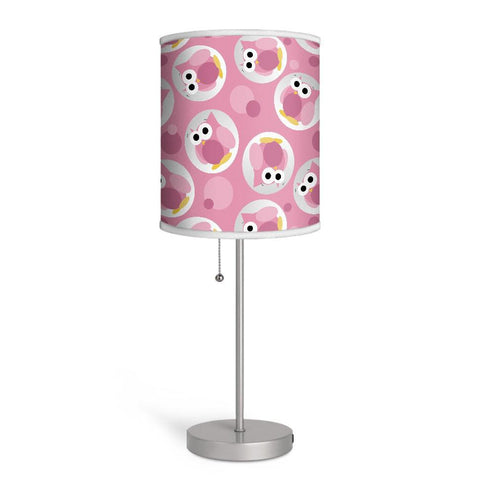 Funny Cute Pink Owl Pattern Nursery or Kids Room Lamp at Speckle Rock