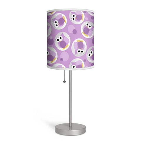 Funny Cute Purple Owl Pattern Nursery or Kids Room Lamp at Speckle Rock