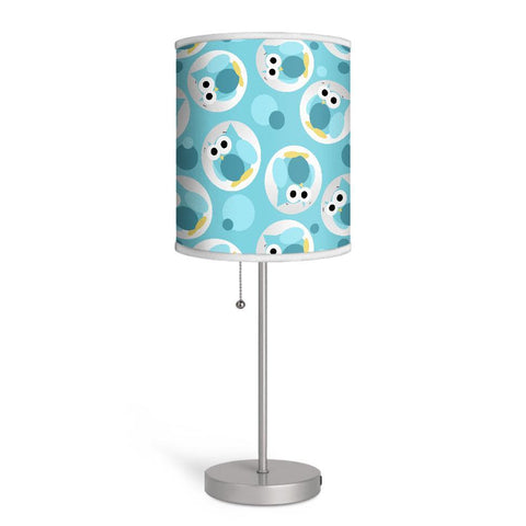 Funny Cute Turquoise Owl Pattern Nursery or Kids Room Lamp at Speckle Rock