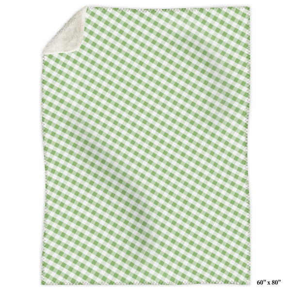 Green Gingham Sherpa Fleece Blanket at Speckle Rock