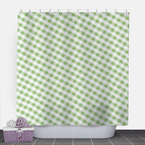 Green Gingham Shower Curtain at Speckle Rock