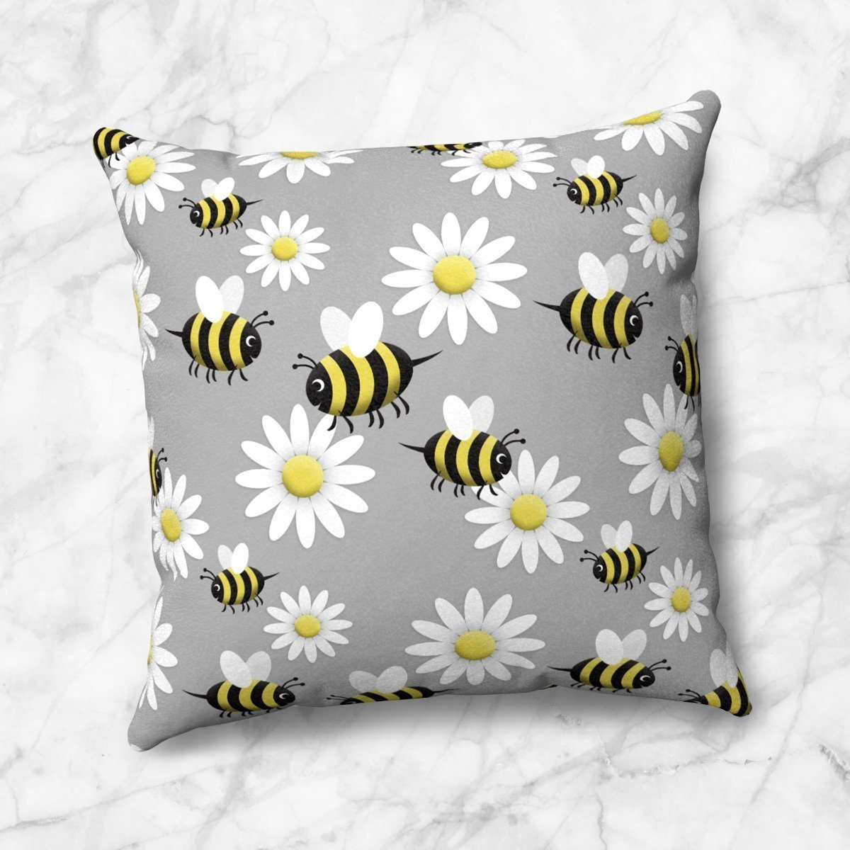 Happy Bee and Daisy Pattern Throw Pillow at Speckle Rock