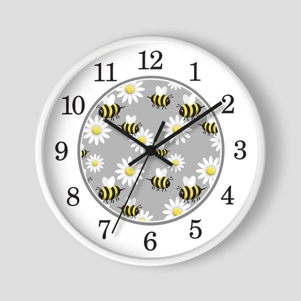 Happy Bee and Daisy Pattern Wall Clock at Speckle Rock