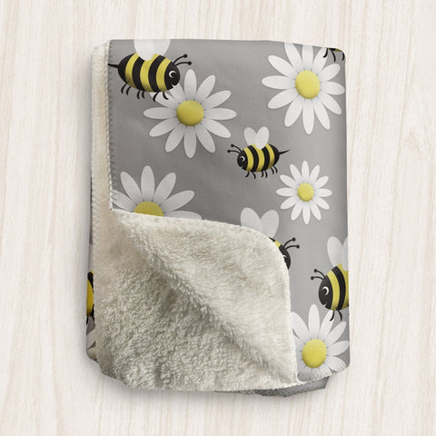 Happy Bee and Daisy Sherpa Fleece Blanket at Speckle Rock