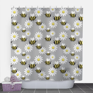 Happy Bee and Daisy Shower Curtain at Speckle Rock