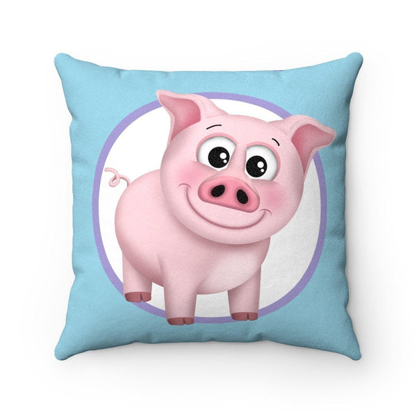 Happy Pig Pink Blue and Purple Plaid Throw Pillow at Speckle Rock