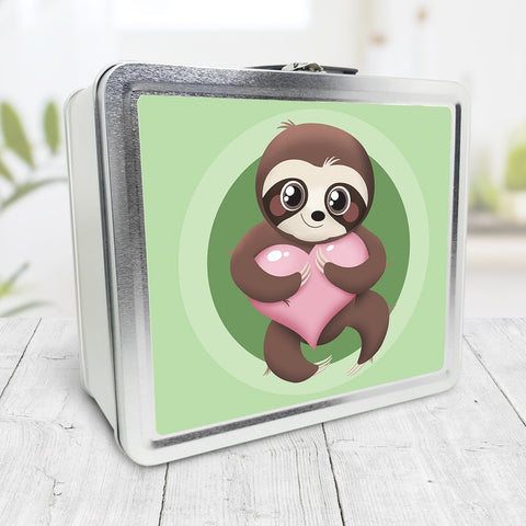 Happy Sloth Pink Heart Green Lunch Box at Speckle Rock