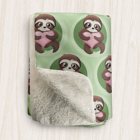 Happy Sloth Pink Heart Green Sherpa Fleece Blanket at Speckle Rock