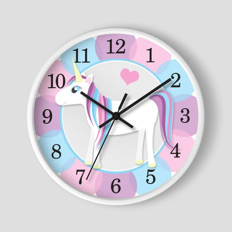 Happy Unicorn with Unicorn Colors Wall Clock at Speckle Rock
