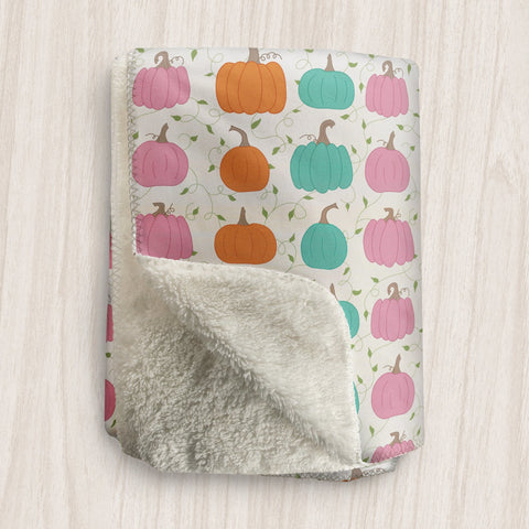 Orange Teal Pink Pumpkin Pattern Sherpa Fleece Blanket at Speckle Rock