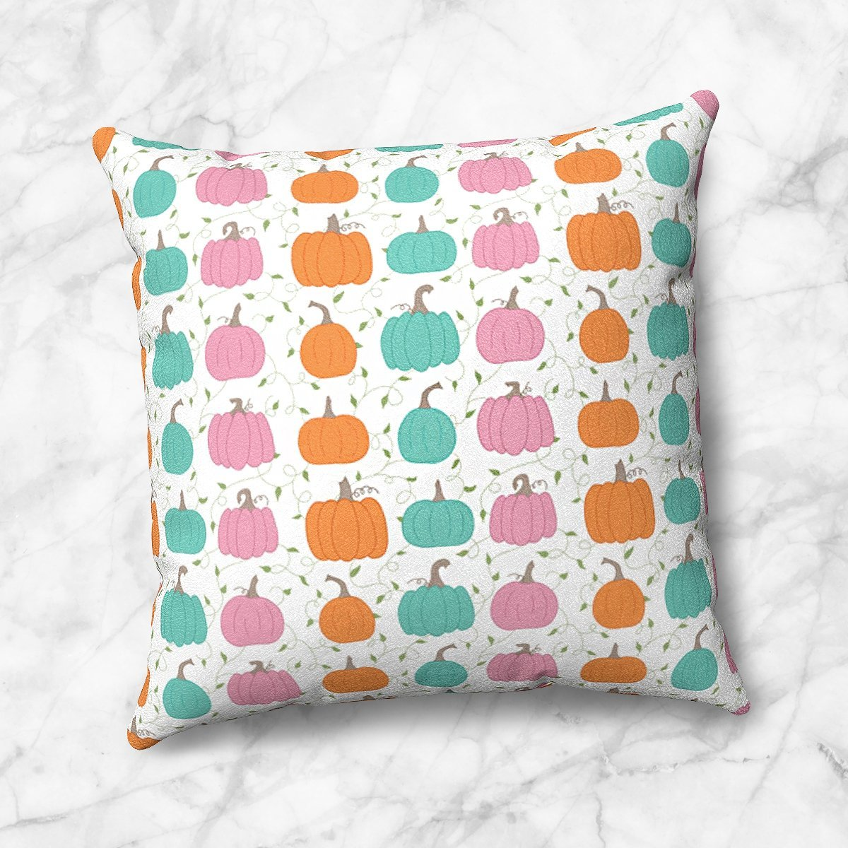 Orange Teal Pink Pumpkin Pattern Throw Pillow at Speckle Rock