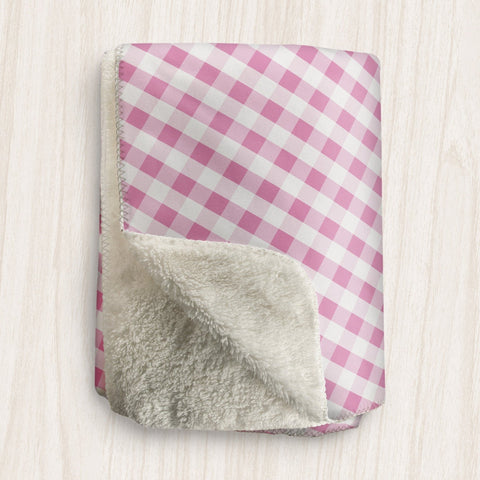 Pink Gingham Sherpa Fleece Blanket at Speckle Rock
