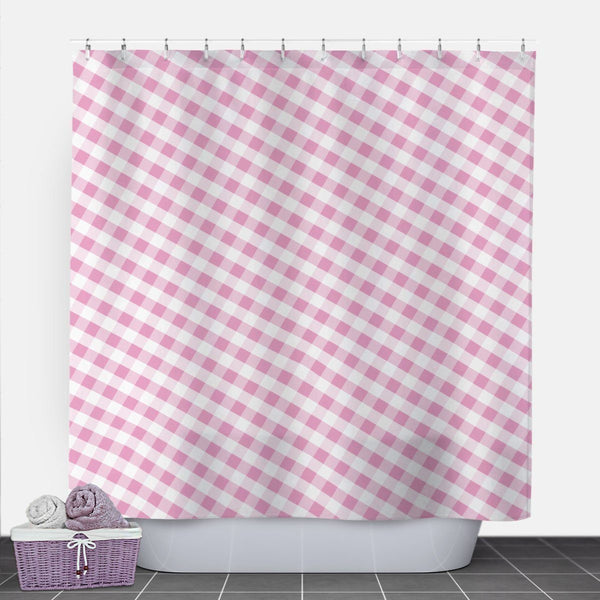Pink Gingham Shower Curtain at Speckle Rock