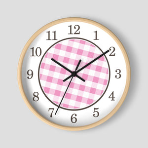 Pink Gingham Wall Clock at Speckle Rock