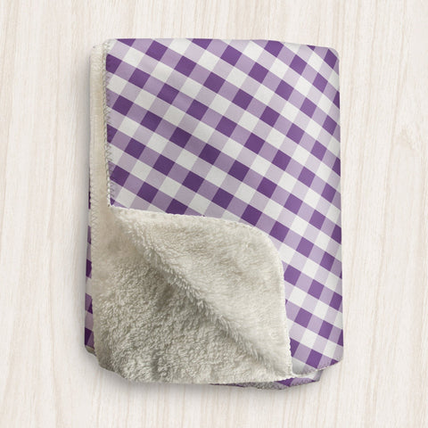 Purple Gingham Sherpa Fleece Blanket at Speckle Rock