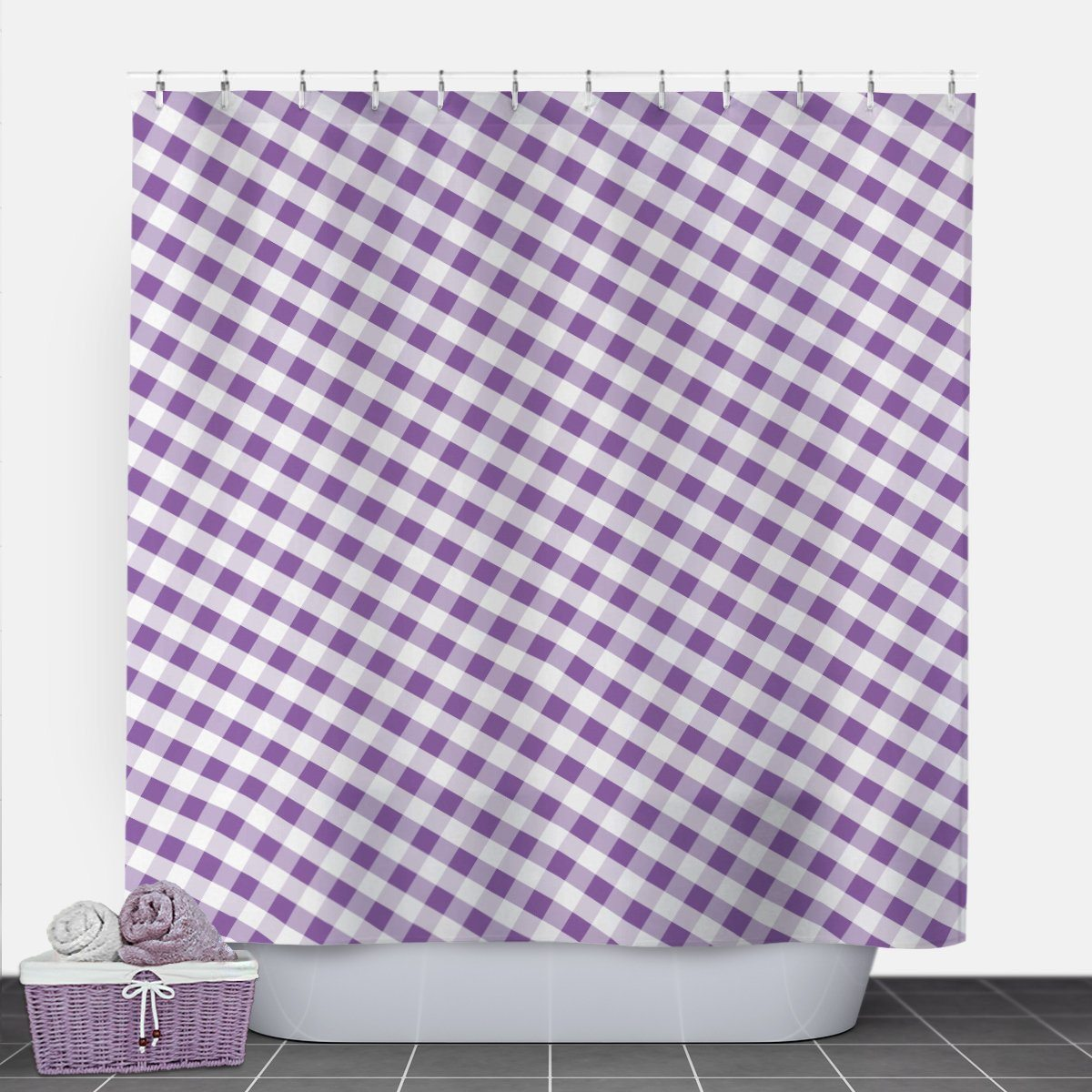Purple Gingham Shower Curtain at Speckle Rock
