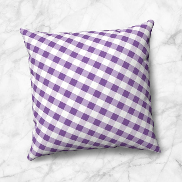 Purple Gingham Throw Pillow at Speckle Rock
