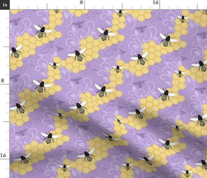 Purple Honeycomb Bee Pattern Fabric at Speckle Rock