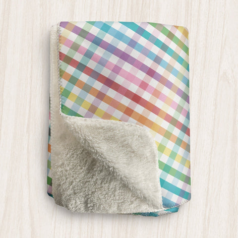 Rainbow Gingham Sherpa Fleece Blanket at Speckle Rock
