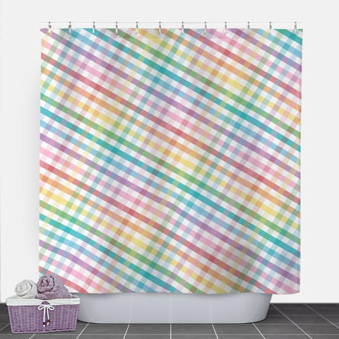Rainbow Gingham Shower Curtain at Speckle Rock