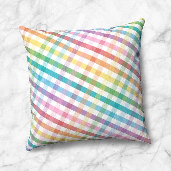 Rainbow Gingham Throw Pillow at Speckle Rock