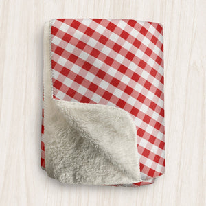 Red Gingham Sherpa Fleece Blanket at Speckle Rock