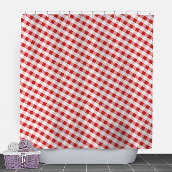 Red Gingham Shower Curtain at Speckle Rock