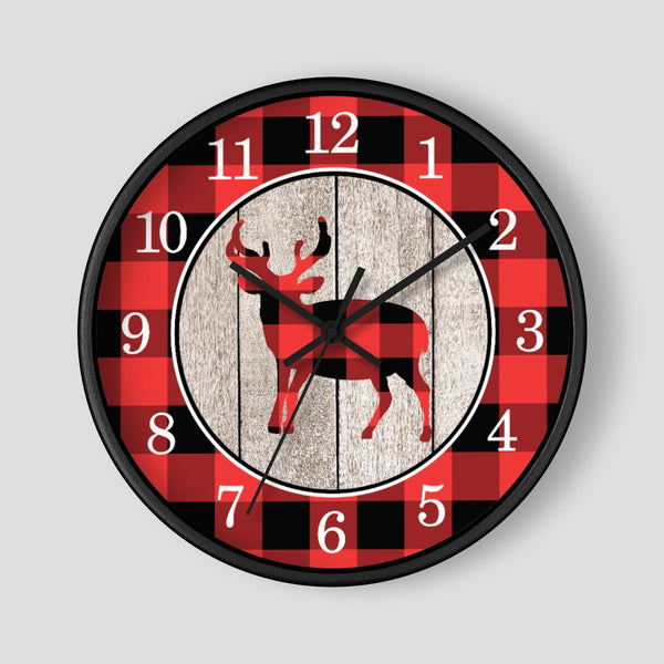 Rustic Buffalo Plaid Deer Wall Clock at Speckle Rock