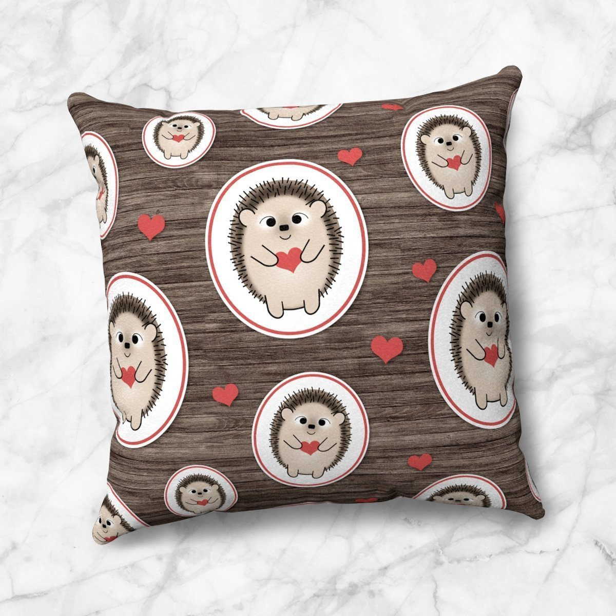 Rustic Red Heart Hedgehog Pattern Throw Pillow at Speckle Rock