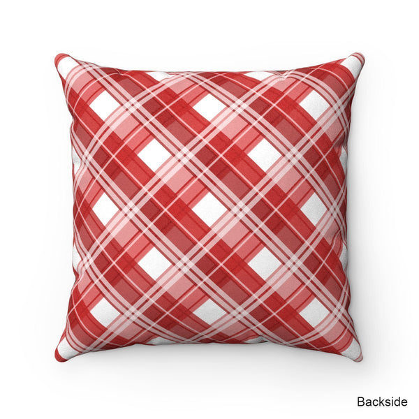 Rustic Wood Hedgehog Heart Red Plaid Throw Pillow at Speckle Rock