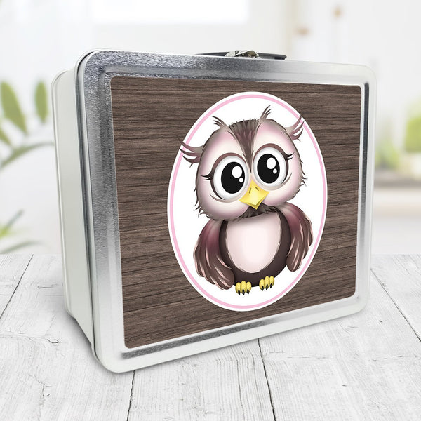 Rustic Wood Pink and Brown Owl Lunch Box at Speckle Rock