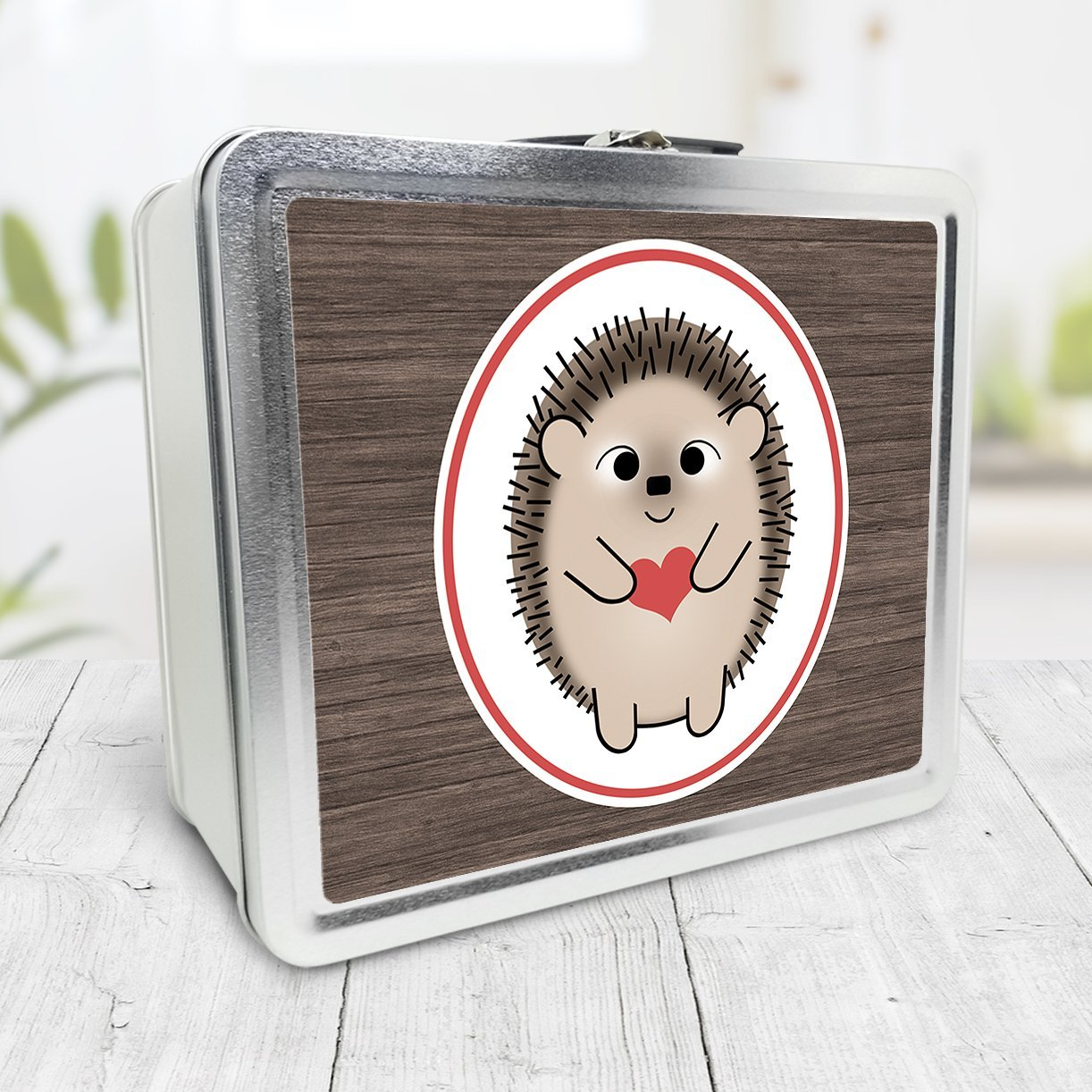 Rustic Wood Red Heart Love Hedgehog Lunch Box at Speckle Rock