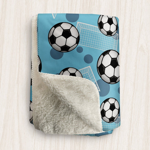 Soccer Ball and Goal Blue Sherpa Fleece Blanket at Speckle Rock