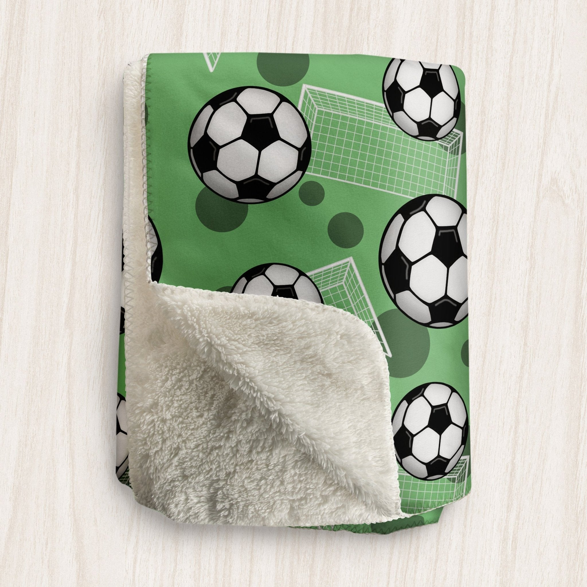 Soccer Ball and Goal Green Sherpa Fleece Blanket at Speckle Rock