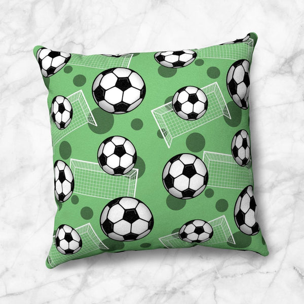 Soccer Ball and Goal Pattern Green Throw Pillow at Speckle Rock