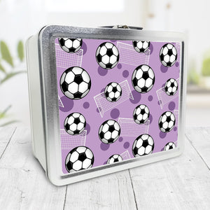 Soccer Ball and Goal Pattern Purple Lunch Box at Speckle Rock