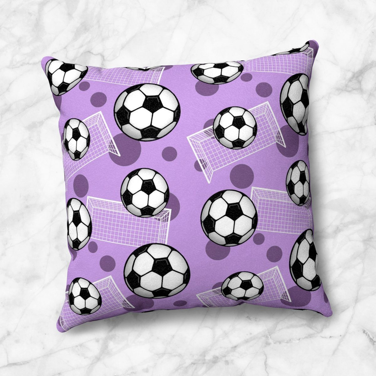 Soccer Ball and Goal Pattern Purple Throw Pillow at Speckle Rock