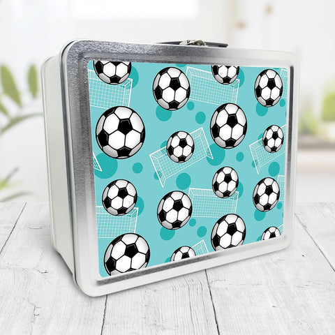 Soccer Ball and Goal Pattern Teal Lunch Box at Speckle Rock