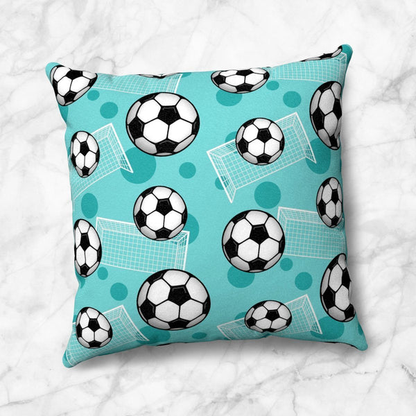 Soccer Ball and Goal Pattern Teal Throw Pillow at Speckle Rock