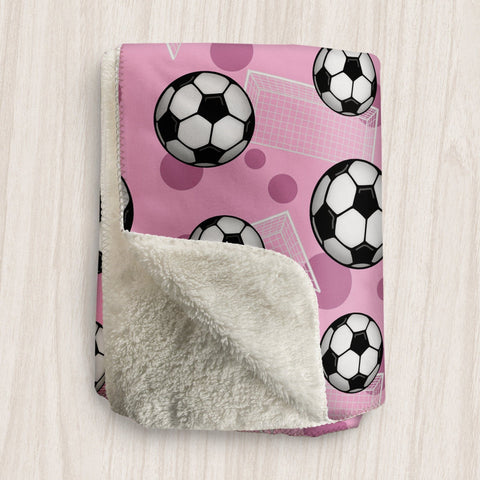 Soccer Ball and Goal Pink Sherpa Fleece Blanket at Speckle Rock