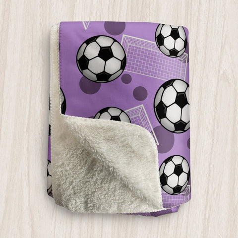 Soccer Ball and Goal Purple Sherpa Fleece Blanket at Speckle Rock