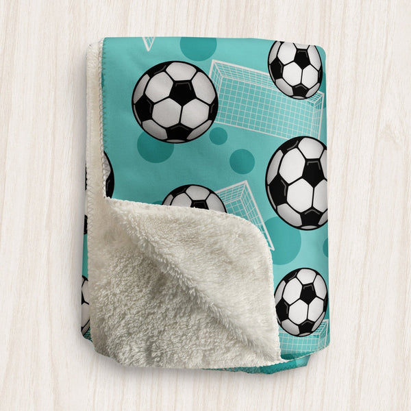 Soccer Ball and Goal Teal Sherpa Fleece Blanket at Speckle Rock