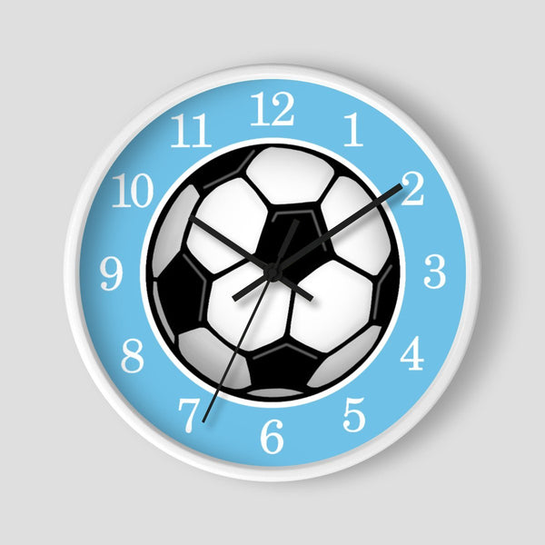 Soccer Ball Blue Wall Clock at Speckle Rock