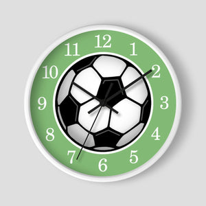 Soccer Ball Green Wall Clock at Speckle Rock